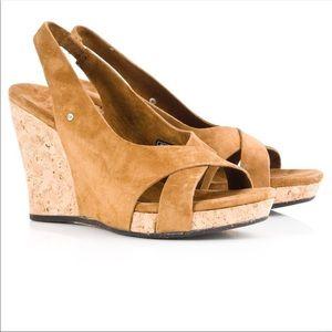 UGG Hazel Chestnut Wedge Heel Size 8